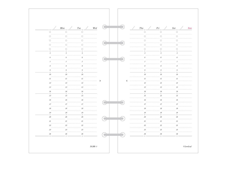 バイブル システム手帳 リフィル ウィークリー バーチカル